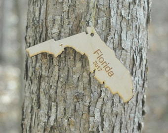 Natural Wood Florida State Ornament WITH 2017