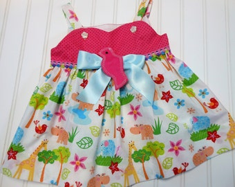 Happy Bird Dress  / Size 6 Months Only OOAK 25% off was 25.50 Now 19.00