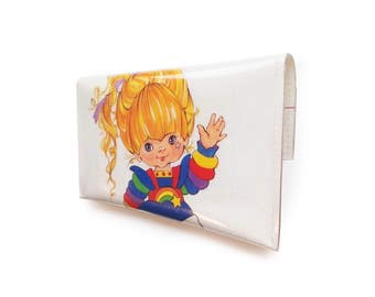 Rainbow Brite Purse - Upcycled Vintage Book Page in Vinyl - with Starlite 1980's