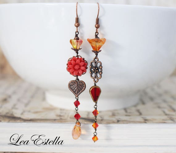Rustic Autumn Earrings Asymmetrical Earrings Red Floral earrings Fall Accessories Woodland Earrings Boho Leaf earrings - Flame of the Forest