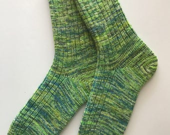 Knitted Women's Socks, tgknits Hand Dyed, Hand Cranked