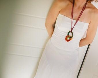 Long boho necklace, long fabric pendant, ethnic necklace, tribal necklace, circle necklace, earthy colors