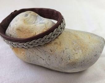 Sami Lapland Reindeer Leather and Braided Pewter Bracelet: Faska Maroon, Tin Thread Tenntrad, 19 cm