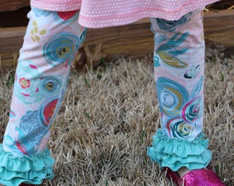 floral print leggings with triple ruffle hem sizes 12m - 14 girls Art gallery fabric