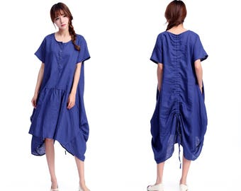Free Style/Flower Bud Pleats Linen Long Drawstring Dress with Short Sleeve / 25 Colors/ RAMIES