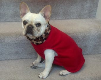 French Bulldog Frenchie Pullover Fleece Jacket with Leopard Collar