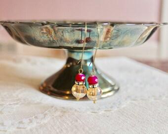 Champagne glass bead, rhinestone, and bright pink bead drop earrings, kidney wire earrings