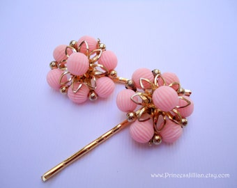 Vintage earrings bobby pins - Pink flower gold filigree leaves Coro simple beaded cluster girl jeweled embellish decorative hair accessories