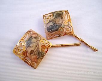 Vintage earrings hair slides - Ivory cream gold pink green enamel swirls painted unique scrolls girl decorative embellish hair accessories