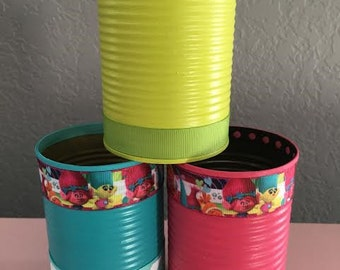 Set of (6) TROLLS TIN CANS