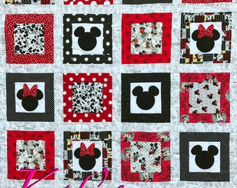 Minnie Mouse Quilt and Mickey Mouse Quilt Disney Themed Twin Bed Quilt or Extra Large Throw Quilt