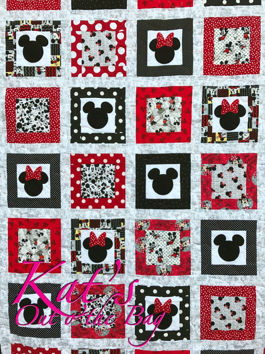 Minnie Mouse Quilt And Mickey Mouse Quilt Disney Themed Twin