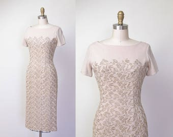 1950s Embroidered Dress / Anne Fogarty Beige Wiggle Dress