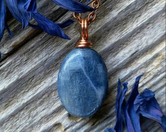 Wire Wrapped Blue Kyanite Necklace Stone Pendant Gemstone Copper Jewelry