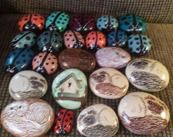 22 Cats, Ladybugs painted rocks and a Birdhouse
