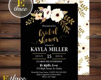Black and Gold Bridal Shower Invitation - Elegant Floral Wedding Shower Invitations - Gold Foil and Black Invite