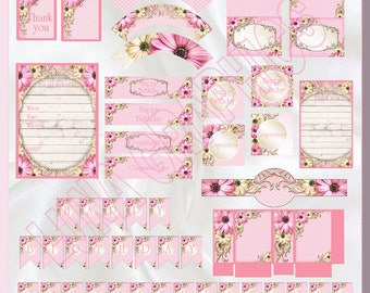 DIGITAL DIY Printable Party Packs #1 Daisy PUO Birthday and Congratulations Kit also suitable for showers 2 in 1 Kit