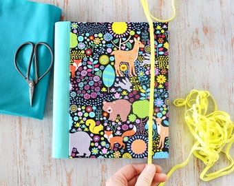 Fabric journal // MENAGERIE hardbound spiral notebook jotter diary