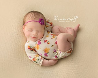 Newborn girl floral romper with lace details (Aria) - photography prop - cream, orange, pink, violet, yellow, onesie, newborn outfit