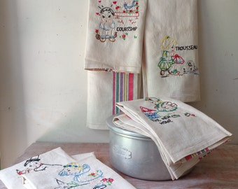 7 Vintage Hand Stitched Linen Tea Towels - Trousseau Collection