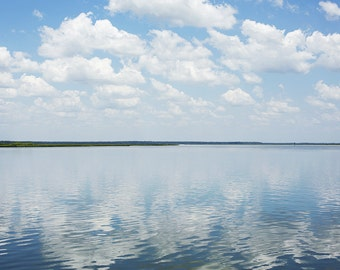 Clouds Reflecting on Water - Fine Art Photograph, ocean, atlantic, landscape, room decor, wall art, travel photography, cumberland river
