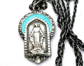 Sterling Silver Miraculous Medal Necklace