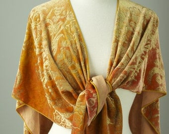 tangerine orange hand dyed silk velvet ruana wrap shawl cape with a Fortuny like gold metallic print