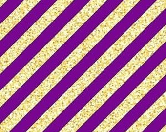 Purple and Gold Diagonal Stripe Printed Vinyl