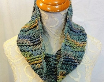 wool silk blend cowl blues and greens and gold hand dyed in Montana