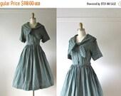 SALE vintage 1950s dress / 50s dress / Sailor Stripes