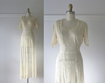 40s wedding dress / Je T'aime / vintage 1940s lace wedding dress