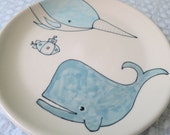 Reserved - Animal Themed Ceramics Handmade Salad Plate Wheel Thrown Pottery Whales Illustration Sea Creature Themed Pottery Cute Narwhal