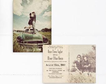 Vintage Postcard Wedding Invitations 5x7 Invite The