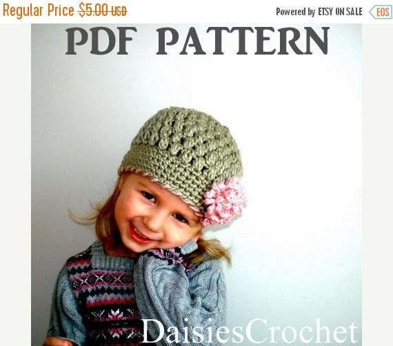 ON SALE Crochet pattern pdf Girl Beanie Hat with Flower. Puffer Hat. Christmas Birthday gift 7 sizes (017)