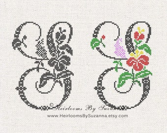 "Large Antique Floral Monogram - Machine Cross Stitch Embroidery - Tropical Flower Initial - Cross Stitch Font - Floral Font ""S"" - HBS-61-S"