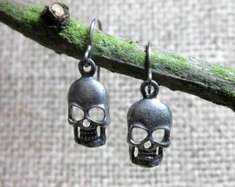 CLEARANCE Human Skull Silver Earrings ~ Skulls on Stainless Steel Hooks Goth Halloween