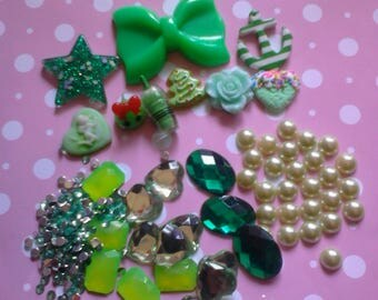 "Kawaii decoden phone deco diy charm cabochon  ""  Green mix  154 ""---USA seller"