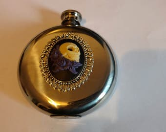 Death & Roses Stainless Steel Gothic Hip flask / Purple / Maroon.