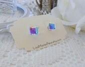 BIG Cube Studs, Swarovski Crystal Aurora Borealis Stud Earrings, Cubist Studs, Swarovski Cube, Cube Earrings, Crystal Stud Earrings