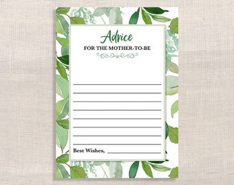 Green Advice for the Mother To Be Shower Cards, Greenery Baby Shower Game, Leaves, Foliage, DIY Printable, INSTANT DOWNLOAD