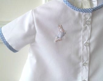 Peter Rabbit Diaper Shirt and Diaper Cover, Size Newborn, Blue Gingham Shorts, White Shirt with Gingham Accents, Shadow Embroidery