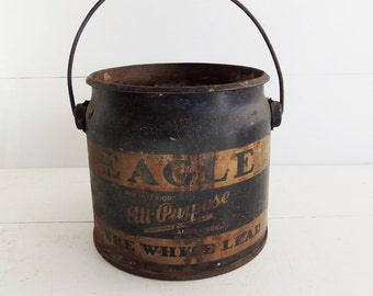 Eagle Brand White Lead Paint Pail, Vintage Advertising
