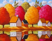 """Art Print by Cathy Horvath 8.5""""x11"""" Modern Folk Art, Autumn River Cottage Water Reflections, Fall Tree Colors Landscape Artwork Reproduction"""