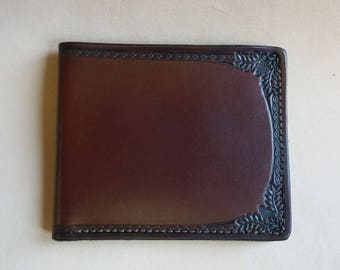 Men's Leather Wallet / Rich Brown / Border Tooled