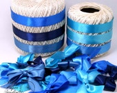 Hand Tied Satin Bows Set of 12 Blue Variety Polly's Paper Studio