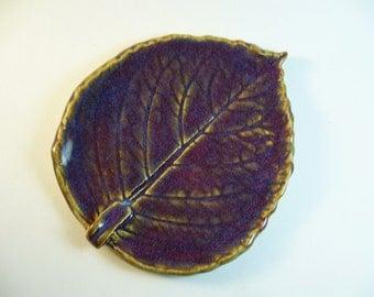 Purple Rain Pottery Leaf Spoon Rest