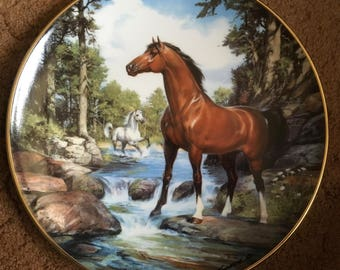 Franklin Mint Horse Plate, Donald L. Kueker, Thoroughbred, Cool Creek Crossing, Gift Idea, Royal Doulton, Decor, Wall Hanging, Collectible