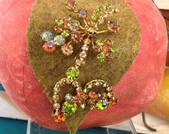 Rhinestone Brooch & Earring Set