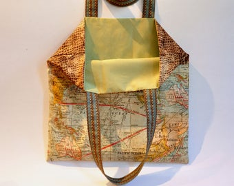 Book bag - market bag - map expedition bag - Cotton  tote purse for the book lover - travel bag - all purpose tote