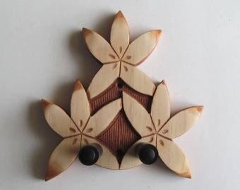 Ukulele wall mount hanger, hand carved floral